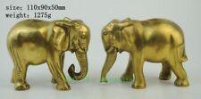 Chinese Fengshui Brass Auspicious Wealth Bat Flower Animal Elephant Statue pair