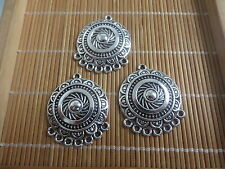 10 x Antique Silver Round Sun Flower Charm Pendant Connectors For Jewelry Making