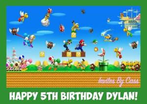 SUPER MARIO BROTHERS A4 EDIBLE IMAGE CAKE TOPPER BIRTHDAY PARTY KIDS ADULTS