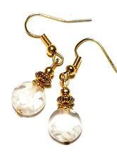 Short Gold White Millefiori Earrings Glass Bead Drop Dangle Pierced Hook