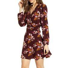 Chelsea 28 Womens Ruched Waist Long Sleeve Mini Dress Floral Print