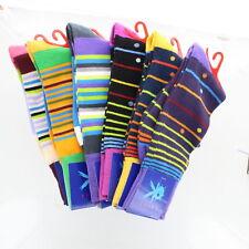 Lot of 6 Mens Bright Color Stripe Dress Knee Socks Size 10-13