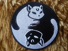 Cat Black and White Yin-Yang Embroidered Patch Sew Iron On