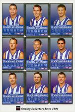 2009 AFL Teamcoach Trading Card Silver Parallel Team set North Melbourne (10)