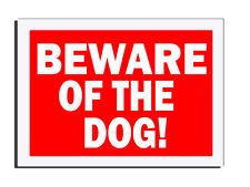 BEWARE OF THE DOG WARNING -RED- GATE-FENCE-DOOR SIGN XMAS GIFT