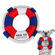 New listing Squeaky Swim Ring with Cotton Rope For Large Dog Chew Bite Toy Pet Toys Supplies