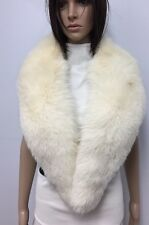 "GENUINE White ARCTIC FOX FUR SCARF COLLAR BOA LENGTH 52"" n138"