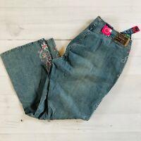 Women's Z. Cavaricci Vintage Floral Stitched Jeans Size 20