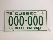 Quebec 1975 SAMPLE License Plate very good condition # 000-000