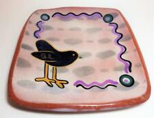 McCaffery Studio Pottery Plate Square Blackbird Slip Painted Red Ware