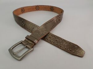 Fossil Leather Belt Large 38 Studded Cut Out Metallic Gold BT2943711