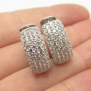 925 Sterling Silver Pave C Z Huggie Earrings