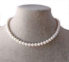Collana girocollo in perle vere colore bianco 8mm ,Naturale,da donna