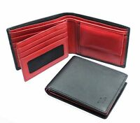 Starhide Mens RFID BLOCKING Real Leather Wallet ID & Coin Pocket 1216 Black/Red