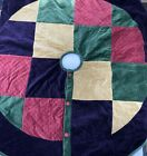 Vtg Velvet Christmas Tree Skirt Boho Retro Purple Boho Quilted Cotton Buttons