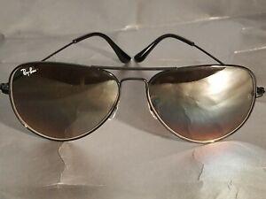 Ray Ban RB3026 62MM Aviator Unisex Sunglasses Black Frame/Brown Gradient Lens