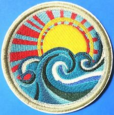 Japan Harajuku Sun Surf Waves Iron On Embroidered Quality 9cm Happy Patch