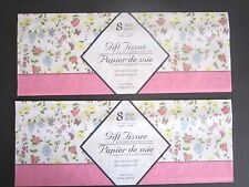 """PREMIUM BRIGHT BUTTERFLY FLOWERS GIFT WRAP TISSUE PAPER 16 SHEETS 20"""" x 20"""" NEW"""