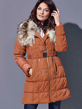 Kaleidoscope Size 16 Burnt Orange Quilted Coat Faux Fur Collar Warm Stylish £98
