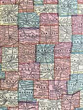 Authentic 1889 Color Map INDIANA & WISCONSIN Vintage Rare 2-Sided Large Detailed