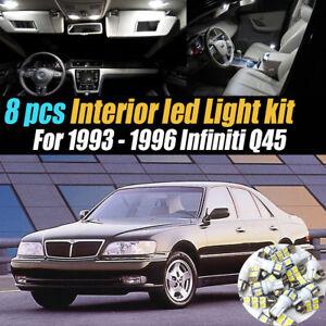 8Pc Super White Car Interior LED Light Bulb Kit Pack for 1993-1996 Infiniti Q45