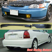 TR Style Front Lip (PU) + CTR Rear Bumper Lip (PU) Fit 96-98 Civic 3dr