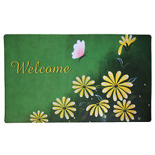 """Non-Slip Home Fashion Daisy Welcome Vinyl Back Painting Doormat 29""""X17"""""""