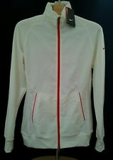 NIKE Women Sport Warm Up White HOODIE Hoody SMALL Full Zip JACKET Slim Fit NWT