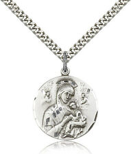 Sterling Silver Men's O/L of PERPETUAL HELP Pendant - Includes 24 Inch Heavy ...