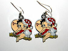 #396 Christmas Betty Boop Dangle Charm Earrings w/Silver Hook Earwires