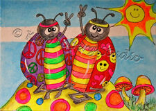 Hippie Ladybug peace Love Sun aceo EBSQ Kim Loberg Mini Art fantasy bug mushroom