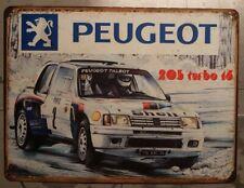 Plaque metal vintage Peugeot 205 Turbo 16