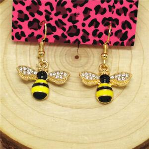 Hot Yellow Enamel Cute Insect Honey Bee Betsey Johnson Women Stand Earrings