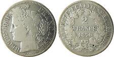GOUV  DÉFENSE NATIONALE   2  FRANCS  CERES  ARGENT  1870  A  PARIS ,  GRAND  A