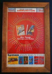 Vintage 1958 Lyman 2 Side POSTER CARTRIDGE & BULLET / CASTING RELOADING AMMO
