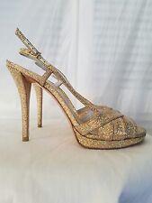 STUART WEITZMAN GOLD Glitter High Heel Sandal Slingback Open Toe 8.5 M, NWOB