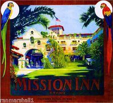 Riverside California The Mission Inn Orange Citrus Fruit Crate Label Art Print