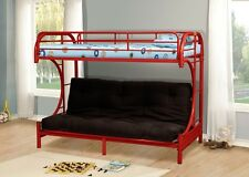 Red Metal Twin Futon Bunk Bed Couch Kids Boys Girls Bedroom Furniture Daybed