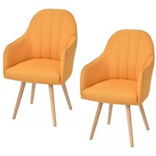 Set Of 2 Accent Dining Chairs Style Arm Chair Modern w/Wood Legs Yellow
