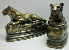 Art Deco PANTHER Bookends BARYE K&O Co Decorative Arts Figural Big Cat Book Ends