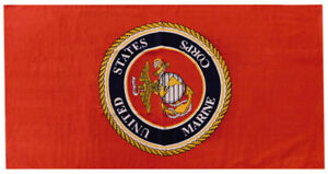 Marines USMC United States Marine Corps Emblem Red 30 x 60 Beach Towel (Cotton)