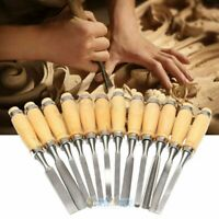 12Piece Heavy Duty Carving Hand Chisel Tools Wood Handle Professional Gouges USA