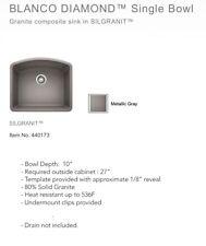 Blanco 440173 Diamond Single Bowl Silgranit II Sink, Metallic Gray, New