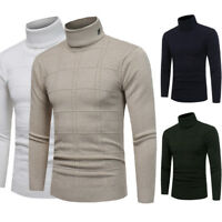 Fashion Men's Knitted Roll Turtleneck Pullover Sweater Check Jumper Tops Xmas