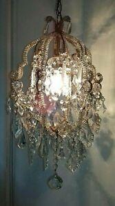 Bellissimo lampadario d'epoca cristalli Maria antonietta Old Chandelier Lustre
