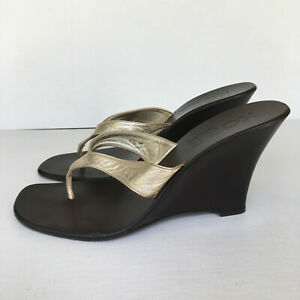 Kors Michael Kors Metallic Leather Wedge Flip Flops Gold/Brown Size 7.5