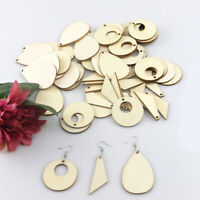 HD_ NE_ 60Pcs Wooden Geometric Earring Pendant DIY Jewelry Making Crafts Hooks R