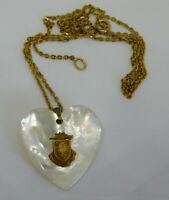Vintage Mother of Pearl Heart w/Gold Coat of Arms Crest 1/20 12Kt GF Chain