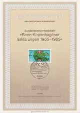 TIMBRE FDC ALLEMAGNE BONN OBL ERSTTAGSBLATT BONN COPENHAGUE DRAPEAUX 1985