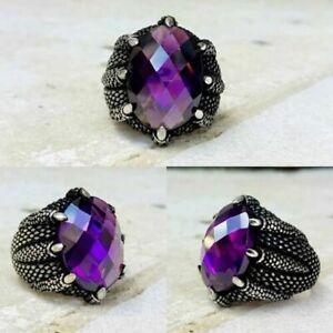 Handmade 925 Sterling Silver violet amethyst Zircon Stone Men's Woman's Ring